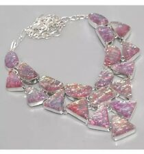 """Pink Fire Opal Opalite 925 Silver Overlay CLUSTER Statement Choker Necklace 18"""""""