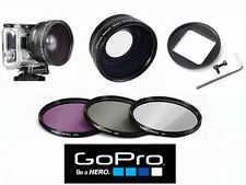 HD WIDE ANGLE MACRO LENS + FILTER KIT FOR GOPRO HERO 3 SILVER BLACK WHITE MODEL
