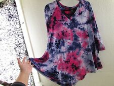 3/4 SLEEVE RAYON/SPANDEX NAVY-LAVENDER TIE DYE TOP TUNIC WOMEN SIZE LARGE NWT