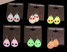 (6) Fishing Spinner Dangle Earrings - Fun Colorful Teardrop Shaped -  (6) Colors