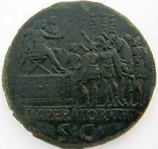 TRAIANUS 98-117 AE SESTERTIUS ROME 114-116  23.0g/32mm  IMPERATOR VIII-S C  R-33