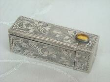 VINTAGE ITALIAN SOLID SILVER LIPSTICK CASE / HOLDER CITRINE GLASS CABOCHON