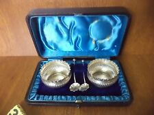 Cased Pair Victorian Solid Silver Table Salt Pots & Spoons - 1892 / A. Bros