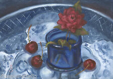 """Daily Painting a Day Sepos """"Sweet, Petite, & Cobalt"""" still life rose & cherries"""