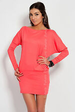 Lovely Women's Mini Dress with Zipper Open Shoulder Tunic Size 8 - 12 8440