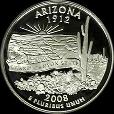 2008 S 90% Silver Arizona State Quarter Deep Cameo Gem Proof No Reserve