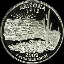 2008 S 90% Silver Arizona State Quarter Deep Cameo Gem Proof No Reserve