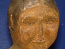 """12"""" Primitive Wooden Folk Art Doll In Kentucky Poppet Style Pencil Eyes & Brows"""