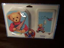 NEW Blue Jean Teddy Night Light Switchplate Set Baby Nursery Blue Red Airplane