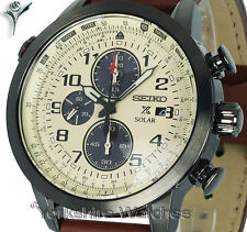 New SEIKO PROSPEX SOLAR AVIATOR CHRONO WITH LEATHER BUCKLE STRAP SSC425P1