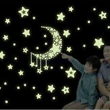 The Dark Wall Fluorescent Stickers Glow In Kid Bedroom Decor Luminous Moon Stars