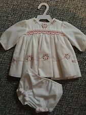"Vintage Smocked Polished Cotton Baby Doll Dress 15"" -18""  Perfect for Baby Dolls"