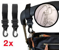 2x Black Adjustable Pram Clip BUGGY HOOKS Fit Bugaboo, Quinny etc, Shopping Hook