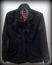 NWT Rampage Womens Sz L Blk Duffel Coat, Zipper & Toggle Closure, Leopard Lining