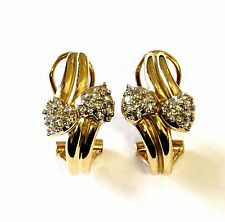 14k yellow gold SI2 H .24ct round cluster diamond hoop earrings 6.3g vintage