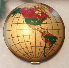 Unusual novelty WORLD map painted continents GLOBE compact made in USA ca 1950s