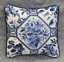 Pillow made w/ Ralph Lauren Palm Harbor Octagonal Navy Blue & White Fabric 12x12