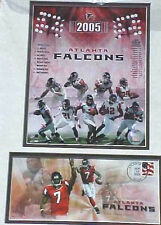 Atlanta Falcons 2005 First Day Issue Stamp with Team Photo Double Mounted