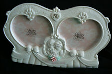 50th Anniversary Double Heart  Porcelain Precious Moments Enesco Photo Frame New