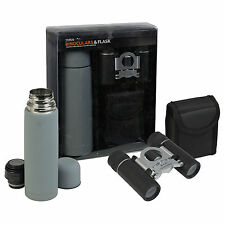 8 x 21 Zoom Binoculars & Thermos Hot Drink Flask Set Carry Case Outdoor Gift Set