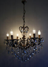 Cherub Style Antique / Vintage Brass &  Crystals  Chandelier Ceiling Lamp