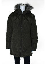 POST CARD Brown Quilted Goose Down Lined Hood Long Sleeve Puffer Jacket Sz 12