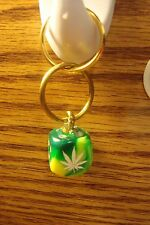 "#1 0ne Cannabis-MARIJUANA Leaf Image Die / Dice 1""in. Key Ring Lime Green Swirl"