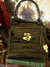 RARE Italian Vintage Black Alligator Birkin Style Bag Purse Tote Handbag Satchel