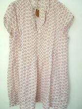 "CP SHADES  Rose pink Block print on white cap sleeve Wah""REGINA"" TUNIC DRESS  L"