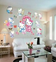 LARGE HELLO KITTY WALL STICKERS FOR KIDS/ CHILDREN BEDROOM WALL ARTS DECALS
