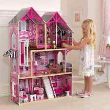 Wooden Dollhouse Doll House & 14pcs Furniture Set PINK Modern 3 Story House NEW