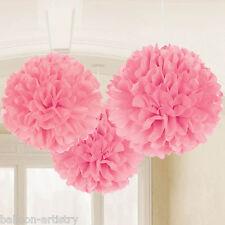 Clásico 3 Rosa Luz Fiesta de Cumpleaños Colgante Decoraciones de bola de papel de tejido esponjoso