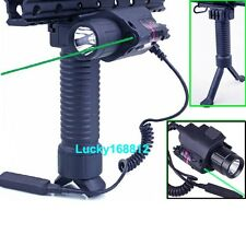 CREE LED Flashlight & Green Laser Sight & Vertical Fore Grip Bipod For Rifle Gun