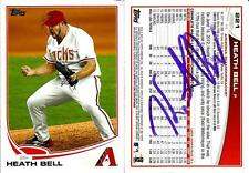 2012 Topps Heath Bell ARIZONA DIAMONDBACKS Signed Auto Trading Card #2