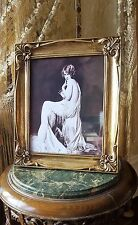 VINTAGE ART DECO NUDE FRENCH BOUDOIR LADY GOLD GLASS PICTURE PHOTO FRAMES PRINT
