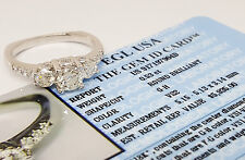 A.JAFFE 1.21 ct 18K Three-Stone Round Diamond Engagement Ring EGL Rtl $5,935