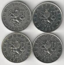 4 DIFFERENT 1 KORUN COINS from the CZECH REPUBLIC (1993, 1997, 2008 & 2009)