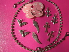 """Interchangeable 10"""" Rhinestone Earrings or Anklets With Charms"""