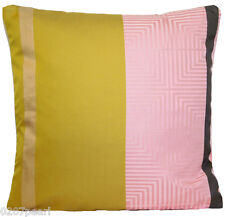 Designers Guild Silk Fabric Cushion Cover Woven Pink Grey Gold Yellow Square