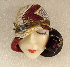LADY HEAD Woman FACE Porcelain-Look Resin Brooch Pin Silk Hat rhinestone RS OOAK