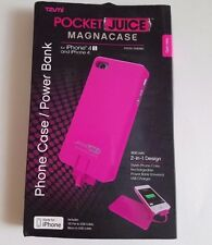 Tzumi Pocket Juice Pink iPhone 4/4s Magnacase Battery Case Power Bank 30 Pin New