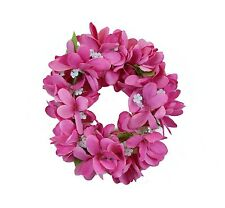 Hawaiian Lei Party Luau Haku Elastic Plumeria Silk Fabric Flower Floral Pink
