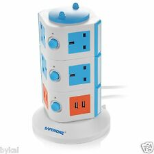 New Safemore Extension Lead 10 Way Outlet PowerSocket UK Plug Adaptor 4 USB Port