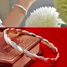 Women Cuff Charm Chain Hot Silver Stripe Bracelet Bangle Pearl Jewelry Gift EY