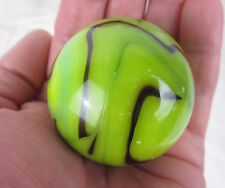 "TOE BREAKER 50mm (2"") GRASSHOPPER Green Black Marbles glass ball HUGE Swirl"