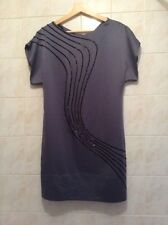 COAST Grey Beaded Satin Tunic Dress BNWT Size 10 (RRP £150) REDUCED