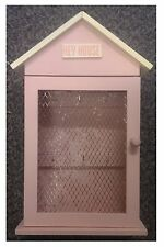 Pink Pastel Key House Cupboard Cabinet Rack Holder Storage Box With 6 Hooks