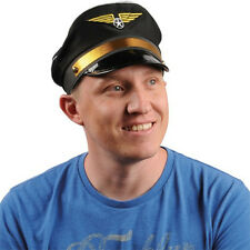 Black Pilot Hat Airplane Captain Flight Airline Costume Cap Wings Adult New