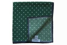 Battisti Pocket Square Hunter green with white polkadot & navy trim, pure wool
