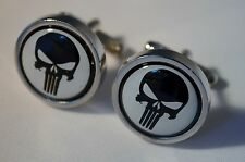 PUNISHER MENS SUPERHERO SILVER CUFFLINKS MOVIE WEDDING NOVELTY CHRISTMAS GIFT DC